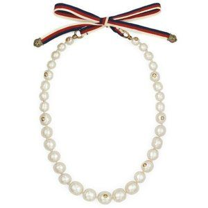 Gucci Women's Metallic Pearl Necklace With Sylvie